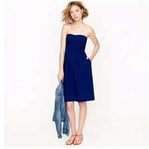 J. Crew Swiss Dot Strapless Blue Dress